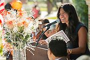 Houston ISD trustee Diana Davila comments during a ceremony to rename Jackson Middle School to Navarro Middle School in honor of Yolanda Black Navarro, October 5, 2016.