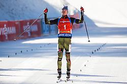 Winner Simon Schempp (GER) celebrates during Men 12,5 km Pursuit at day 3 of IBU Biathlon World Cup 2015/16 Pokljuka, on December 19, 2015 in Rudno polje, Pokljuka, Slovenia. Photo by Vid Ponikvar / Sportida