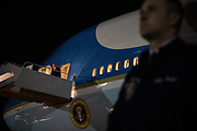 President Donald Trump arrives in the very early morning aboard Air Force One following a day and evening trip to Florida at Joint Base Andrews, Maryland, U.S., December 8, 2019.