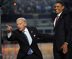 """File photo dated August 28, 2008 of Democratic vice presidential candidate Joe Biden points to someone in the convention crowd as presidential candidate Barack Obama looks on Day Four of the Democratic National Convention at Mile High in Denver, CO, USA. Former President Barack Obama endorsed Joe Biden, his two-term vice president, on Tuesday morning in the race for the White House. """"Choosing Joe to be my vice president was one of the best decisions I ever made, and he became a close friend. And I believe Joe has all the qualities we need in a president right now,"""" Obama said in a video posted to Twitter. Photo by Olivier Douliery/ABACAPRESS.COM"""