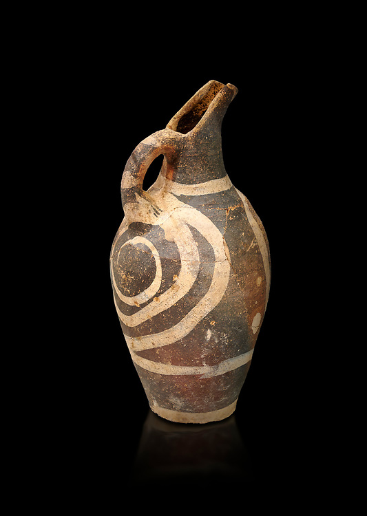 Minoan decorated Kamares  style jug with swirl pattern, Poros cemetery 1800-1650 BC; Heraklion Archaeological  Museum, black background. .<br /> <br /> If you prefer to buy from our ALAMY PHOTO LIBRARY  Collection visit : https://www.alamy.com/portfolio/paul-williams-funkystock/minoan-art-artefacts.html . Type -   Heraklion   - into the LOWER SEARCH WITHIN GALLERY box. Refine search by adding background colour, place, museum etc<br /> <br /> Visit our MINOAN ART PHOTO COLLECTIONS for more photos to download  as wall art prints https://funkystock.photoshelter.com/gallery-collection/Ancient-Minoans-Art-Artefacts-Antiquities-Historic-Places-Pictures-Images-of/C0000ricT2SU_M9w