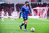 Jose Baxter of Oldham Athletic (8) walks over to take a corner kick during the The FA Cup fourth round match between Doncaster Rovers and Oldham Athletic at the Keepmoat Stadium, Doncaster, England on 26 January 2019.