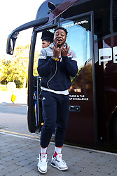 Panos Mayindombe of Bristol Flyers arrives for the pre-season game against Worcester Wolves- Photo mandatory by-line: Robbie Stephenson/JMP - 17/09/2018 - BASKETBALL - University of Worcester - Worcester, England - Worcester Wolves v Bristol Flyers - Pre-season friendly