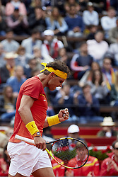 April 6, 2018 - Valencia, Valencia, Spain - Rafael Nadal of Spain celebrates a point in his match against Philipp Kohlschreiber of Germany during day one of the Davis Cup World Group Quarter Finals match between Spain and Germany at Plaza de Toros de Valencia on April 6, 2018 in Valencia, Spain  (Credit Image: © David Aliaga/NurPhoto via ZUMA Press)