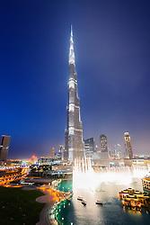 Night view of Burj Khalifa tower world's tallest building in Dubai United Arab Emirates