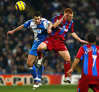 Fotball<br /> Premier League England 2004/2005<br /> Foto: SBI/Digitalsport<br /> NORWAY ONLY<br /> <br /> Crystal Palace v Blackburn Rovers<br /> Barclays Premiership. 11/12/2004<br /> <br /> Ben Watson of Crystal Palace goes up for this aerial one with Brett Emerton of Blackburn