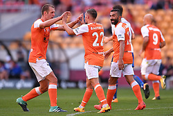 October 22, 2017 - Brisbane, QUEENSLAND, AUSTRALIA - Eric Bautheac of the Roar (#22, centre) is congratulated by team mates after scoring a goal during the round three Hyundai A-League match between the Brisbane Roar and the Newcastle Jets at Suncorp Stadium on October 22, 2017 in Brisbane, Australia. (Credit Image: © Albert Perez via ZUMA Wire)