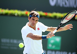 March 15, 2019 - Indian Wells, CA, U.S. - INDIAN WELLS, CA - MARCH 15: Roger Federer (SUI) hits a backhand during the quarterfinals of the BNP Paribas Open on March 15, 2019, at the Indian Wells Tennis Gardens in Indian Wells, CA. (Photo by Adam Davis/Icon Sportswire) (Credit Image: © Adam Davis/Icon SMI via ZUMA Press)