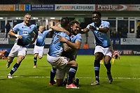 Blackpool players celebrate their sides third goal to win the tie<br /> <br /> Photographer Craig Mercer/CameraSport<br /> <br /> The EFL Sky Bet League Two Play-Off Semi Final Second Leg - Luton Town v Blackpool - Thursday 18th May 2017 - Kenilworth Road - Luton<br /> <br /> World Copyright © 2017 CameraSport. All rights reserved. 43 Linden Ave. Countesthorpe. Leicester. England. LE8 5PG - Tel: +44 (0) 116 277 4147 - admin@camerasport.com - www.camerasport.com