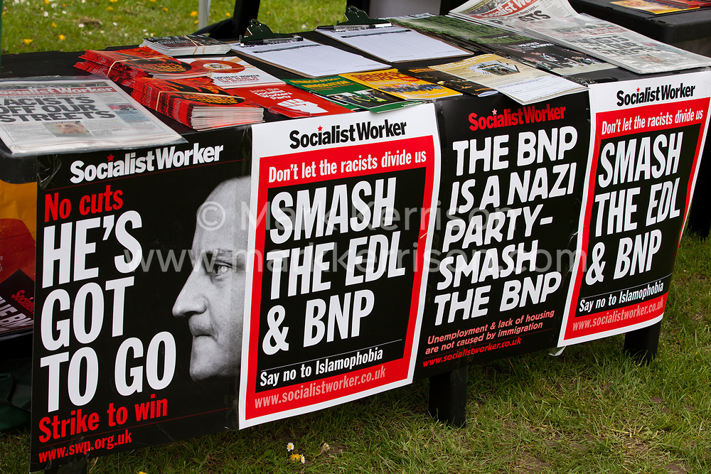 Luton, UK. 5th May, 2012. Placards used by activists from Unite Against Fascism attending the We Are Luton/Stop The EDL rally, held in protest against a march by the far-right English Defence League.