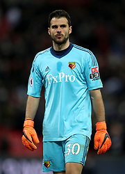 """Watford goalkeeper Orestis Karnezis during the Premier League match at Wembley Stadium. London. PRESS ASSOCIATION Photo. Picture date: Monday April 30, 2018. See PA story SOCCER Tottenham. Photo credit should read: Nick Potts/PA Wire. RESTRICTIONS:  EDITORIAL USE ONLY No use with unauthorised audio, video, data, fixture lists, club/league logos or """"live"""" services. Online in-match use limited to 75 images, no video emulation. No use in betting, games or single club/league/player publications."""