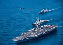 WESTERN PACIFIC (May 3, 2017) F/A-18 Hornets and Super Hornets from Carrier Air Wing (CVW) Two fly over the Republic of Korea destroyers Sejong the Great (DDG 991) and Yang Manchun (DDH 973) and Nimitz-class aircraft carrier USS Carl Vinson (CVN 70) as they transit the Western Pacific. The U.S. Navy has patrolled the Indo-Asia-Pacific routinely for more than 70 years promoting regional peace and security. (U.S. Navy photo by Mass Communication Specialist 2nd Class Sean M. Castellano/Released)170503-N-BL637-102 <br />Join the conversation:<br />http://www.navy.mil/viewGallery.asp<br />http://www.facebook.com/USNavy<br />http://www.twitter.com/USNavy<br />http://navylive.dodlive.mil<br />http://pinterest.com<br />https://plus.google.com