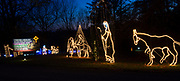 The story of the birth of Jesus is told by a variety of illuminated scenes at the Way of Lights holiday light display at the National Shrine of Our Lady of the Snows in Belleville in this photo taken December 3, 2019. This is the 50th anniversary of the annual light display, which runs from 5 pm to 9 pm through December 31.<br />Photo by Tim Vizer
