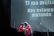Poet and journalist Mardonio Carballo performing in concert with Alonso Arreola. January 27, 2012. Mexico City, Mexico.