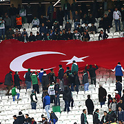 Torku Konyaspor's supporters during their Turkish Super League soccer derby match Torku Konyaspor between Besiktas at the Konya Buyuksehir Belediyesi Torku Arena at Selcuklu in Konya Turkey on Sunday, 28 December 2014. Photo by Batuhan AKICI/TURKPIX