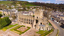 Aerial view from drone of Jedburgh Abbey ( closed during lockdown) in Jedburgh, Scottish Borders, Scotland, UK