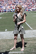 A FOX Sports sideline reporter in action during the Los Angeles Rams 2018 NFL regular season week 2 football game against the Arizona Cardinals on Sunday, Sept. 16, 2018 in Los Angeles. The Rams won the game in a 34-0 shutout. (©Paul Anthony Spinelli)