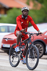 ROTTACH-EGERN, GERMANY - Friday, July 28, 2017: Liverpool's Sadio Mane cycles to a training session at FC Rottach-Egern on day three of the preseason training camp in Germany. (Pic by David Rawcliffe/Propaganda)
