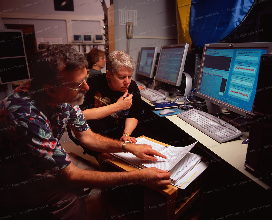 Dr. Jill Tarter, SETI Institute scientist, and Mike Davis, Director of SETI Projects, Observing in the Control Room.