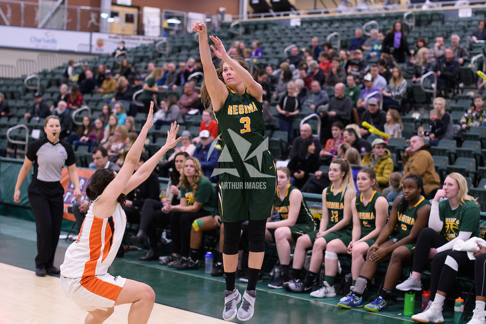 5th year guard Katie Polischuk (3) of the Regina Cougars during the 5th year night on February  11 at Centre for Kinesiology, Health and Sport. Credit: Arthur Ward/Arthur Images