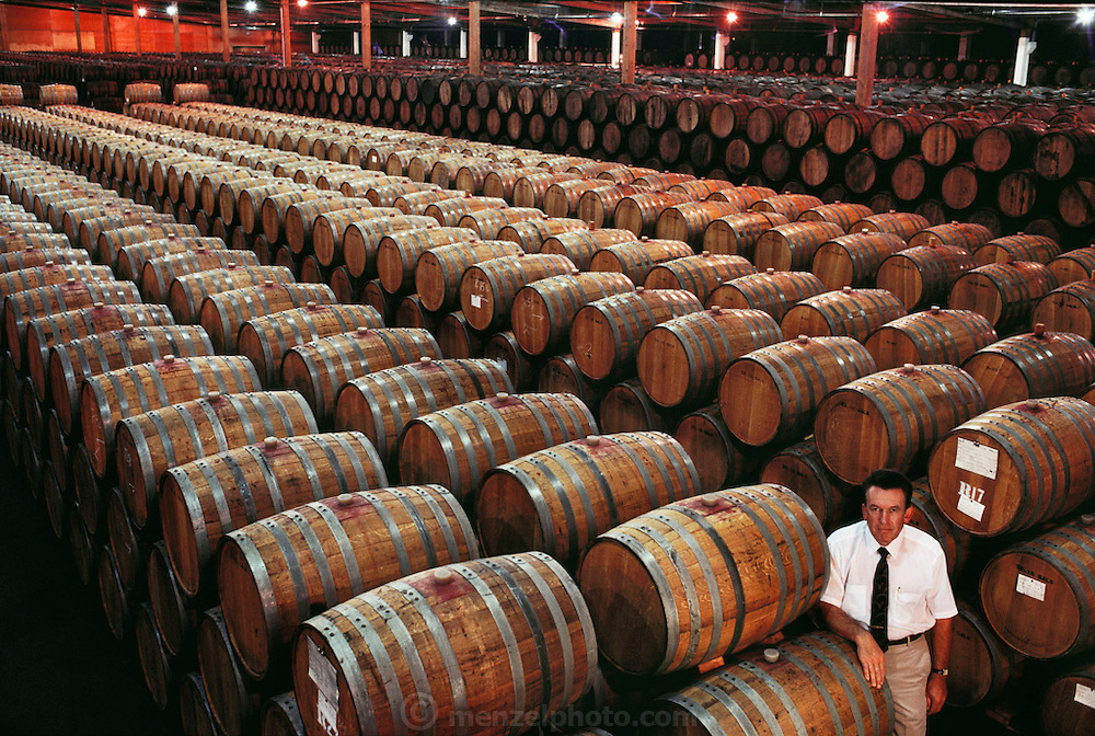 Almaden Vineyards. Winemaster Klaus Mathes standing in Charles Lefranc cellar at Cienega Winery. Almaden Cienega Winery near Hollister, California,. The winery is located squarely across the San Andreas fault trace, and has been affected by fault creep. MODEL RELEASED. USA.