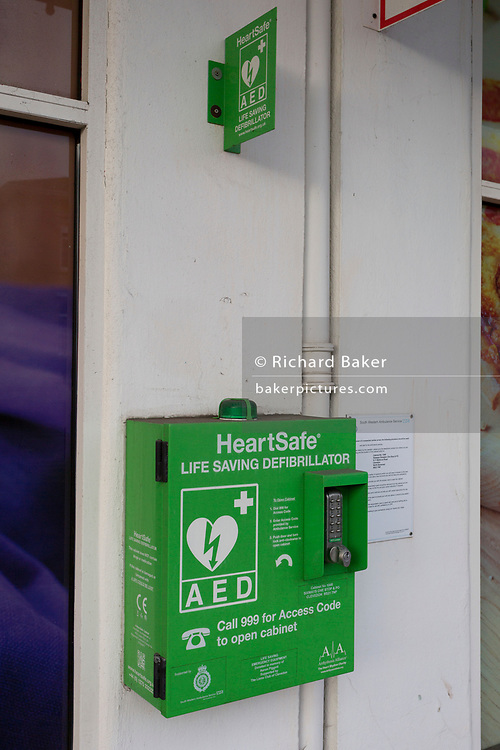 A Heartsafe Defibrillator cabinet, donated by the Lions on behalf of the Heart Rhythm Charity, the Arrhythmia Alliance, on 27th December 2018, in Clevedon, North Somerset, UK.