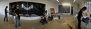 Ian Monroe working in his studio near Tower Bridge.  Assistants  Lizzie Heyes and Rose Eken helping.  -DO NOT ARCHIVE-© Copyright Photograph by Dafydd Jones. 248 Clapham Rd. London SW9 0PZ. Tel 0207 820 0771. www.dafjones.com.