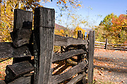 Old wooden gate in the Great Smokey Nationalpark, autumn atmosphere. Tennessee. United States of America.