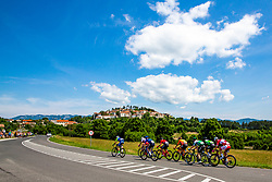 Peloton and Stanjel in background during the 4th Stage of 27th Tour of Slovenia 2021 cycling race between Ajdovscina and Nova Gorica (164,1 km), on June 12, 2021 in Slovenia. Photo by Matic Klansek Velej / Sportida