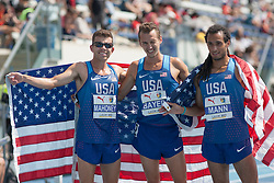 August 12, 2018 - Toronto, ON, U.S. - TORONTO, ON - AUGUST 12: Left to right, Travis Mahoney (USA, silver), Andy Bayer (USA, gold), Jordan Mann (USA, bronze) celebrate a sweep in the 3000m steeplechase at the 2018 North America, Central America, and Caribbean Athletics Association (NACAC) Track and Field Championships on August 12, 2018 held at Varsity Stadium, Toronto, Canada. (Photo by Sean Burges / Icon Sportswire) (Credit Image: © Sean Burges/Icon SMI via ZUMA Press)