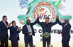 October 1, 2018 - Kiev, Ukraine - Former heavyweight boxing champion and current Mayor of Kiev VITALI KLITSCHKO ,President of the World Boxing Council (WBC) MAURICIO SULAIMAN,former Boxing Champion EVANDER HOLYFIELD,Ukrainian boxer VLADIMIR KLITSCHKO and former Boxing Champion LENNOX LEWIS (from L to R) react during awarding of VLADIMIR KLITSCHKO with the belt of the honorary world champion by the WBC version at the opening of the 56th World Boxing Convention in Kiev, Ukraine, on 1 October 2018.The WBC 56th congress in which take part boxing legends Evander Holyfield,Lennox Lewis, Eric Morales and about 700 participants from 160 countries runs in Kiev from from September 30 to October 5. (Credit Image: © Serg Glovny/ZUMA Wire)