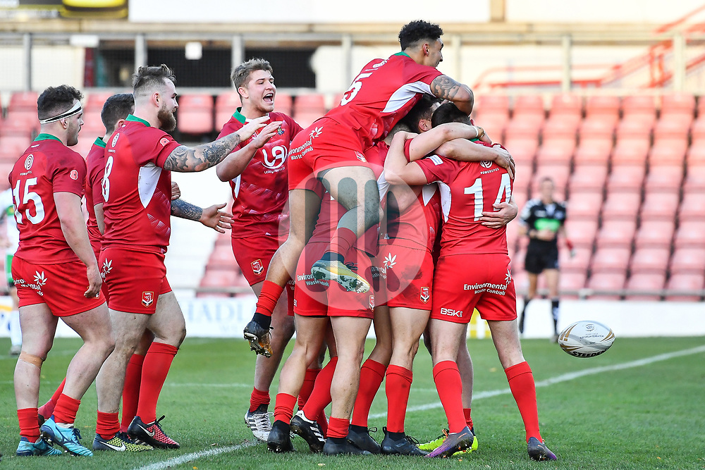 11th November 2018 , Racecourse Ground,  Wrexham, Wales ;  Rugby League World Cup Qualifier,Wales v Ireland ; Wales celebrate scoring a try<br /> <br /> <br /> Credit:   Craig Thomas/Replay Images