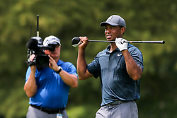 August 9, 2018 - St. Louis, Missouri, United States - Tiger Woods reacts after an errant shot during the first round of the 100th PGA Championship at Bellerive Country Club. (Credit Image: © Debby Wong via ZUMA Wire)