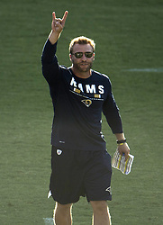 August 5, 2017 - Carson, CA, USA - Rams head coach Sean McVay yells instructions to his players during a joint practice with the Chargers at Stubhub Center in Carson on Saturday, August 5, 2017. (Credit Image: © Kyusung Gong/The Orange County Register via ZUMA Wire)