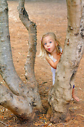 A 2 year old girl plays hide and seek behind a tree