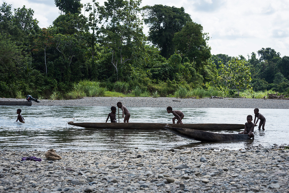 Children play on the Clay River in Likan, Papua New Guinea<br /><br />(June 20, 2019)