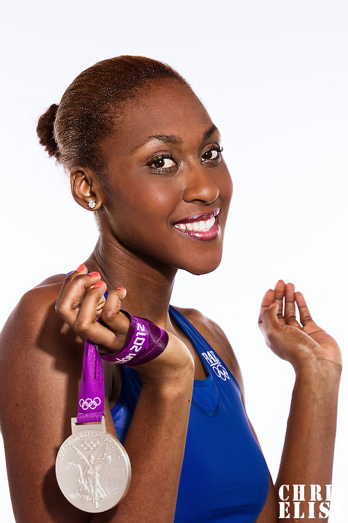14 August 2012:  Olympic Silver Medalist Sandrine Gruda (Team France Basketball) poses with her silver medal, at the Hotel Concorde Lafayette, in Paris, France.