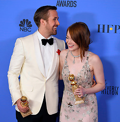 January 8, 2017 - Beverly Hills, California, U.S - 'La La Land' co-stars RYAN GOSLING and EMMA STONE with awards for Best Actor and Best Actress in a Motion Picture - Comedy or Musical, in the Press Room at the 74th Annual Golden Globe Awards. The movie won a record seven Golden Globes.  (Credit Image: © Kevin Sullivan via ZUMA Wire)