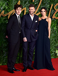 Brooklyn, David and Victoria Beckham attending the Fashion Awards in association with Swarovski held at the Royal Albert Hall, Kensington Gore, London.