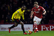 Gustav Engvall of Bristol City (R) takes on Molla Wague of Watford (L). The Emirates FA Cup, 3rd round match, Watford v Bristol City  at Vicarage Road in Watford, London on Saturday 6th January 2018.<br /> pic by Steffan Bowen, Andrew Orchard sports photography.