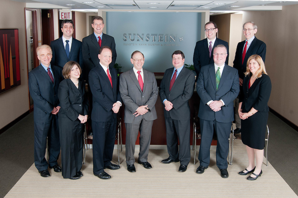 The partners of Sunstein Kann Murphy & Timbers LLP photographed with lawyers of the firm who had won the Super Lawyers award designation from the publishers of Law & Politics and Boston magazines.