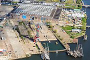 Nederland, Noord-Holland, Amsterdam, 09-04-2014; Amsterdam-Noord, voormalige NDSM werf, 'creatieve hotspot'<br /> Former shipyard, now so-called creative hotspot.<br /> luchtfoto (toeslag op standard tarieven);<br /> aerial photo (additional fee required);<br /> copyright foto/photo Siebe Swart