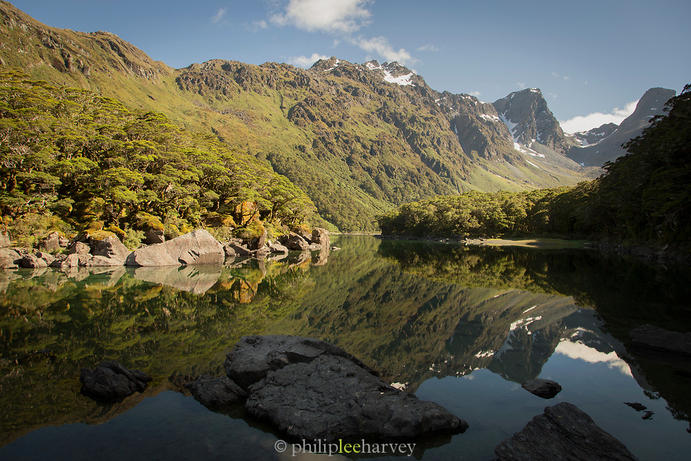 Landscape with scenic view of Lake MacKenzie and mountains in the background, Routeburn Track, South Island, New Zealand
