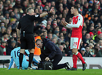 Football - 2016 / 2017 Premier League - Arsenal vs. Burnley<br /> <br /> Granit Xhaka of Arsenal pleads to Referee Jon Moss after being sent off for a foul on Steven Defour (16) at The Emirates.<br /> <br /> COLORSPORT/ANDREW COWIE