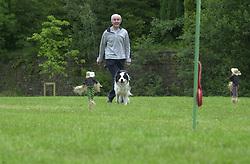 Eddie Sander with his Dogs Jackson and Inka<br /><br />18 June 2004<br /><br />Copyright Paul David Drabble<br /> [#Beginning of Shooting Data Section]<br />Nikon D1 <br /> Focal Length: 116mm<br /> Optimize Image: <br /> Color Mode: <br /> Noise Reduction: <br /> 2004/06/18 09:22:40.0<br /> Exposure Mode: Manual<br /> White Balance: Auto<br /> Tone Comp: Normal<br /> JPEG (8-bit) Fine<br /> Metering Mode: Center-Weighted<br /> AF Mode: AF-S<br /> Hue Adjustment: <br /> Image Size:  2000 x 1312<br /> 1/200 sec - F/8<br /> Flash Sync Mode: Not Attached<br /> Saturation: <br /> Color<br /> Exposure Comp.: 0 EV<br /> Sharpening: Normal<br /> Lens: 80-200mm F/2.8<br /> Sensitivity: ISO 200<br /> Image Comment: <br /> [#End of Shooting Data Section]