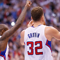 11 May 2014: Los Angeles Clippers guard Jamal Crawford (11) and Los Angeles Clippers forward Blake Griffin (32) celebrate during the Los Angeles Clippers 101-99 victory over the Oklahoma City Thunder, during Game Four of the Western Conference Semifinals of the NBA Playoffs, at the Staples Center, Los Angeles, California, USA.