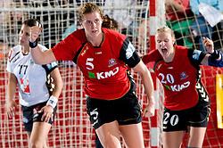 Linnea Tortsenson of Aalborg celebrates at handball match of Round 2 of Champions League between RK Krim Mercator and Aalborg DH, on October 31, 2009, in Arena Kodeljevo, Ljubljana, Slovenia.  Krim won 30:23. (Photo by Vid Ponikvar / Sportida)