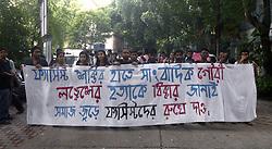 September 6, 2017 - Kolkata - Jadavpur University students rallied with poster and shout slogan against Bharatiya Janta Party and Rashtriya Swayamsevak Sangh to protest the killing of Senior Journalist Gauri Lankesh. (Credit Image: © Saikat Paul/Pacific Press via ZUMA Wire)