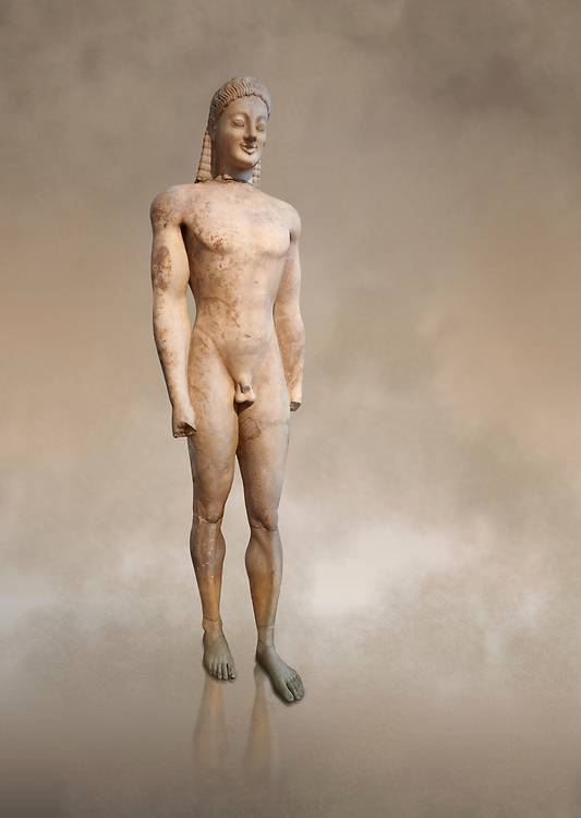 Parian marble Ancient Greek Archaic statue of a kouros, found in Volomandra, Attica. Circa 560-550 BC, Athens National Archaeological Museum. Cat no 1906.<br /> <br /> Probably from the grave of an athenian aristocrat .<br /> <br /> If you prefer to buy from our ALAMY STOCK LIBRARY page at https://www.alamy.com/portfolio/paul-williams-funkystock/greco-roman-sculptures.html . Type -    Athens    - into LOWER SEARCH WITHIN GALLERY box - Refine search by adding a subject, place, background colour, etc.<br /> <br /> Visit our ROMAN WORLD PHOTO COLLECTIONS for more photos to download or buy as wall art prints https://funkystock.photoshelter.com/gallery-collection/The-Romans-Art-Artefacts-Antiquities-Historic-Sites-Pictures-Images/C0000r2uLJJo9_s0