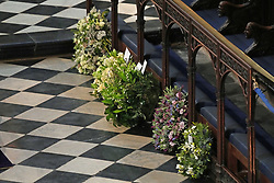 Wreaths from members of the royal family during the funeral of the Duke of Edinburgh in St George's Chapel, Windsor Castle, Berkshire. Picture date: Saturday April 17, 2021.